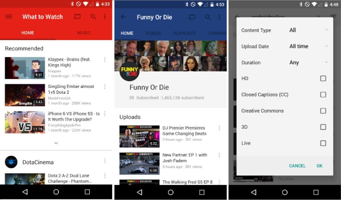 YouTube YouTube is updated Material Design with Material Design (APK to download)