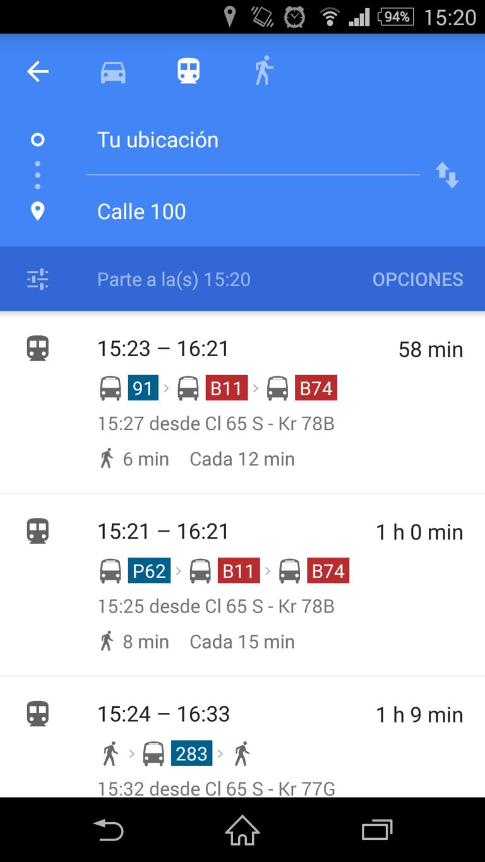 Google maps transit, organice sus viajes en SITP  y Transmilenio