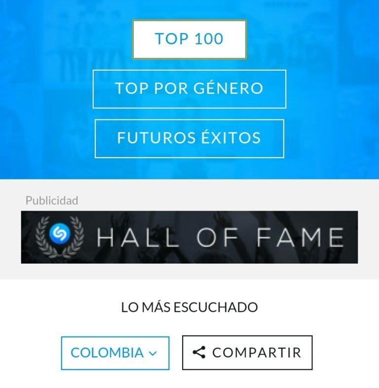 Shazam nos muestra su top 100 colombiano