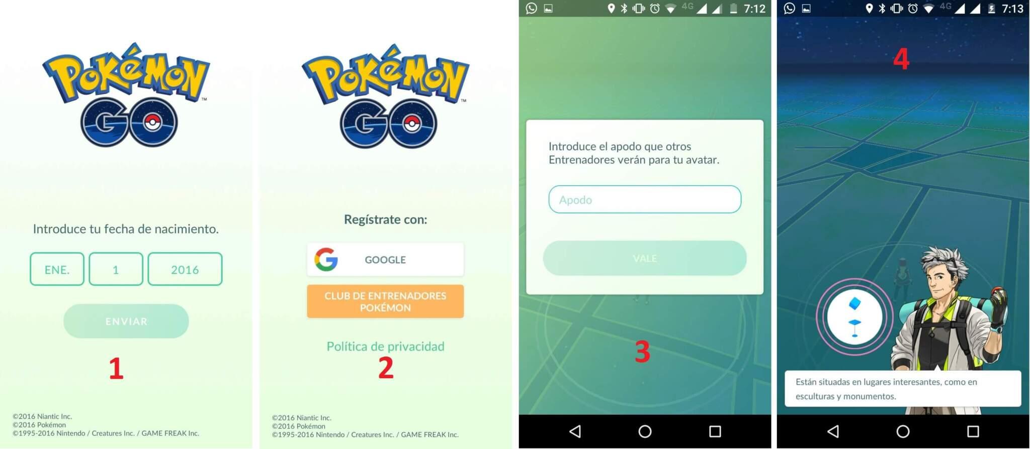 configuración pokemon go