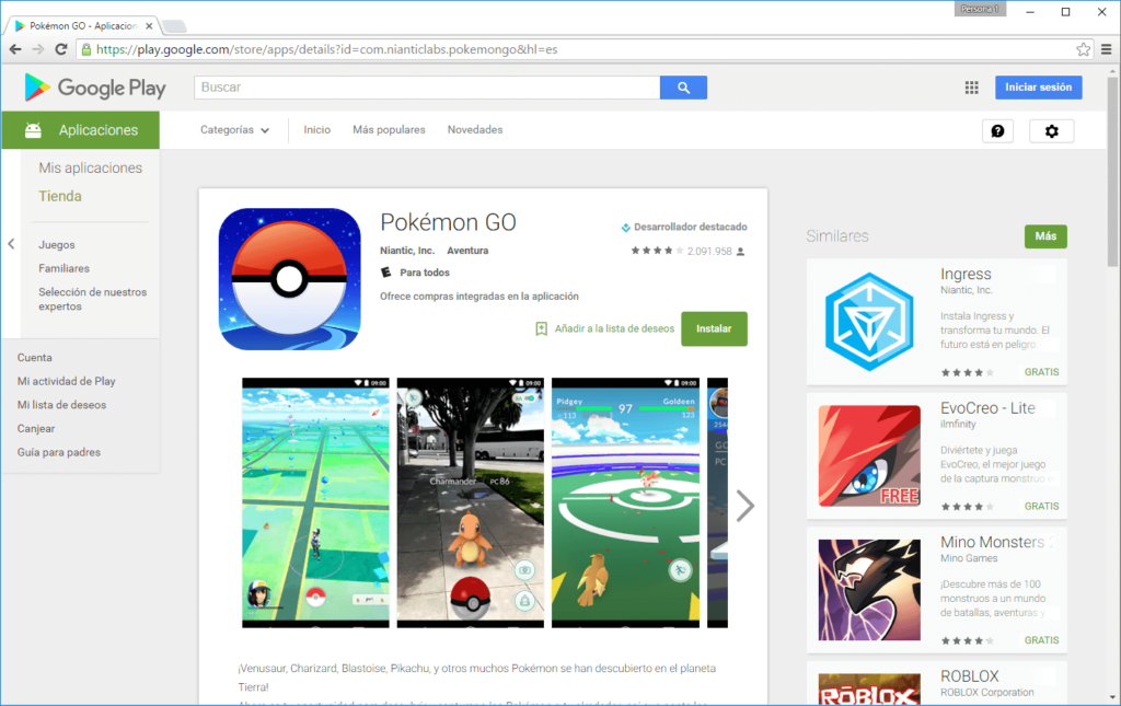 pokemon go google play colombia