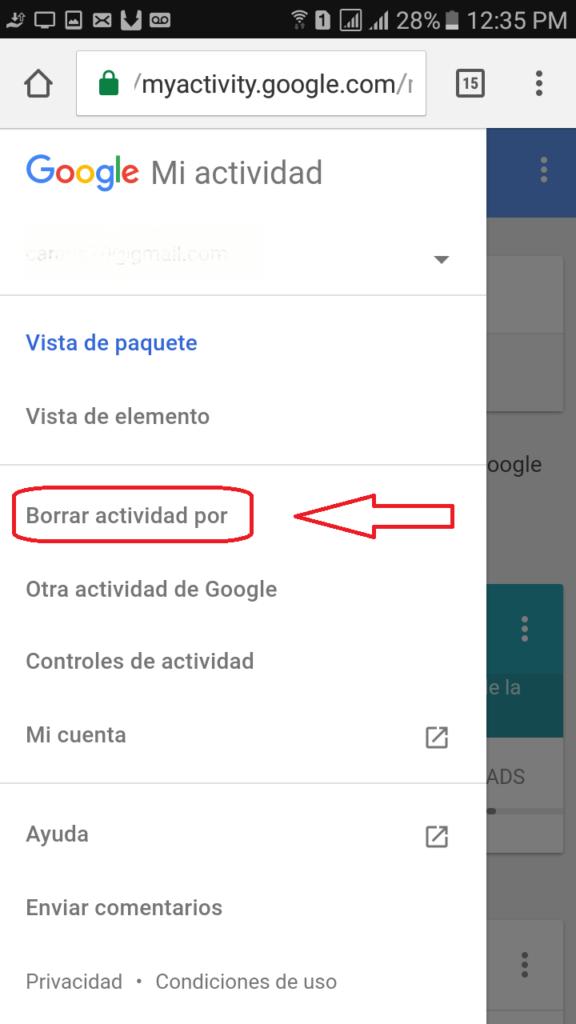 Borrar Actividad en Google