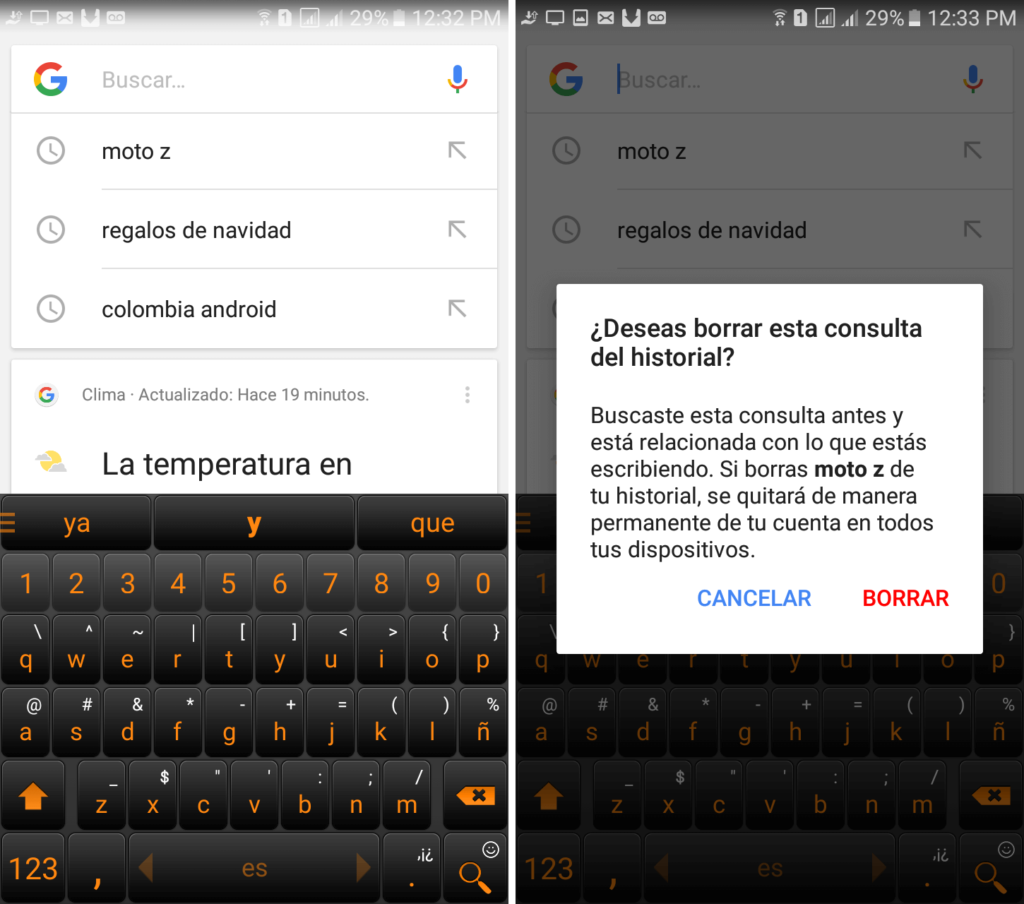 Cómo borrar el historial de búsqueda de Google en Android