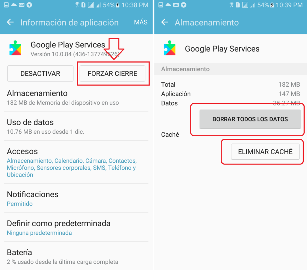 borrar datos y cache google play services