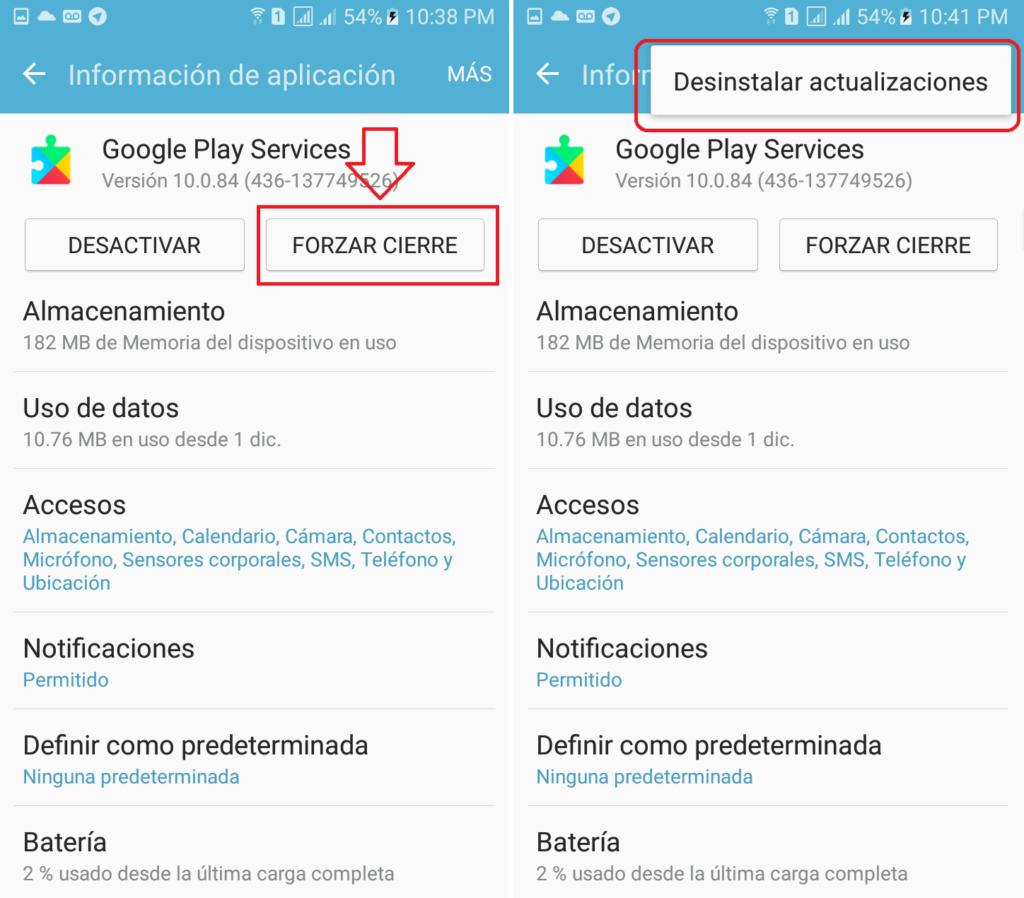 desinstalar actualizaciones google play services