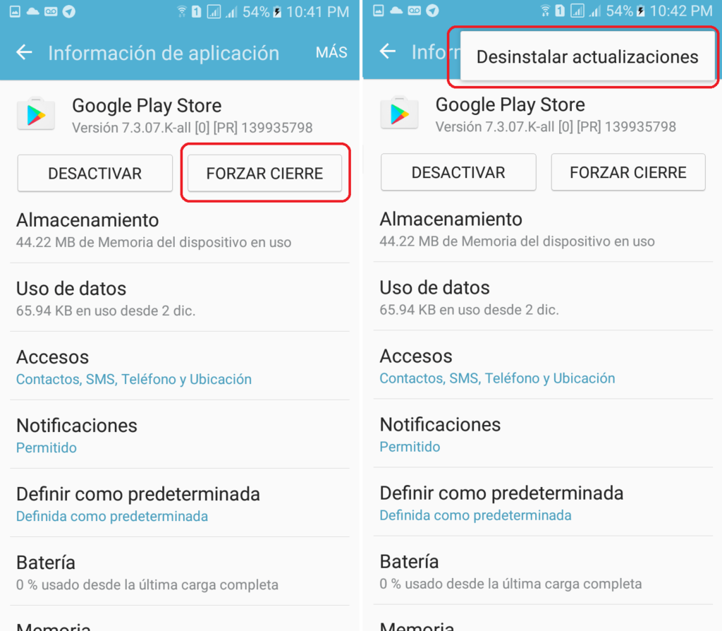 desinstalar actualizaciones google play store