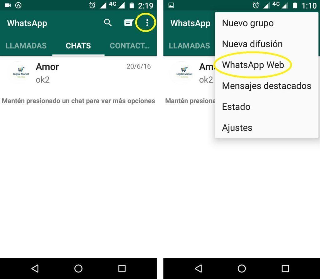 escaneo del código QR del Whatsapp Web