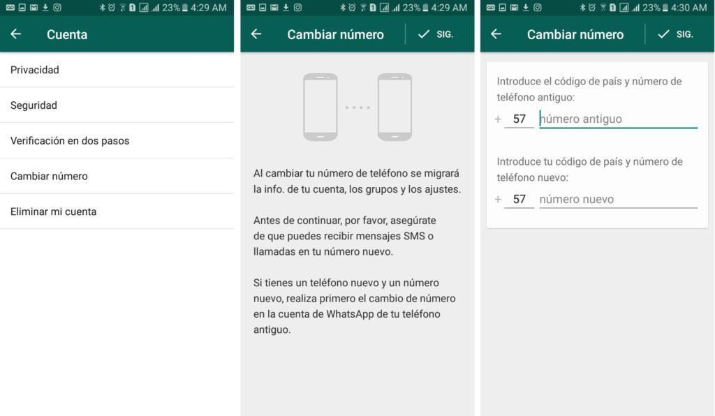 whasapp añade la opcion de notificar a los contactos cuando se cambie de numero