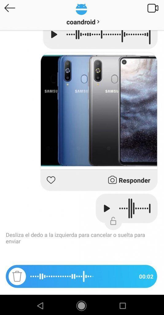 enviar mensaje de voz instagram